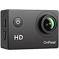 OnReal Action Camera Underwater Camera with  1080P Video Resolution 12MP Photo Resolution 2 Inch Screen 150 Degree Wide-angle Lens