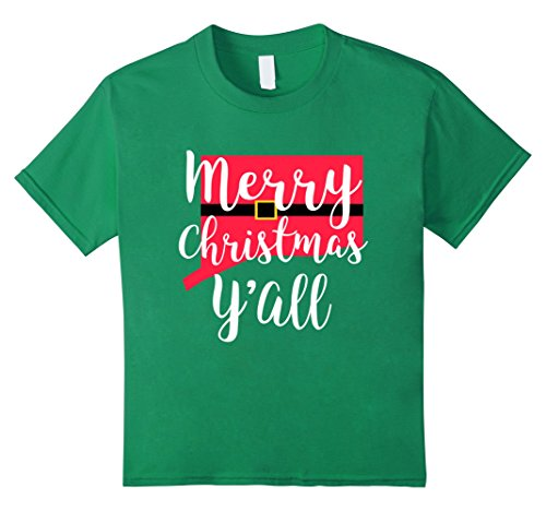 Kids Merry Christmas Yall Santa Suit State Gift Shirt Connecticut 6 Kelly Green