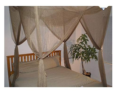 4 Poster Bed Canopy Functional Mosquito Net for Full Queen King Bed (Brown)