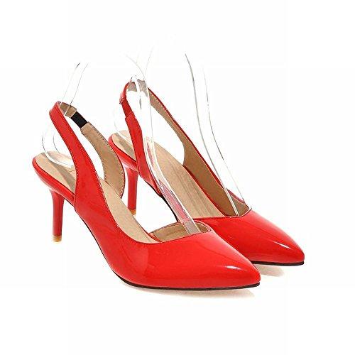 MissSaSa Damen slingback lackleder Pumps mit stiletto Rot