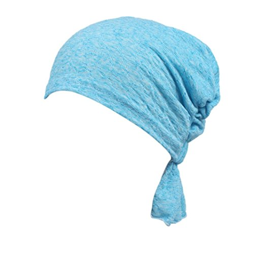 Beanie Scarf Chemo Hat Turban Head Scarves Pre-Tied Headwear Bandana Tichel for Cancer for Womens Cotton (Blue)