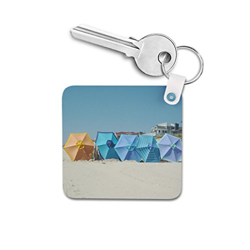 Summer Beach Umbrella Double-sided Square Metal Key Chain from Style in Print