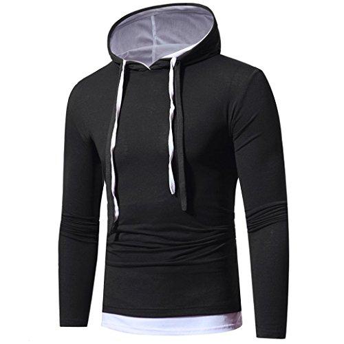 Han Shi Men Hoodies, Drawstring High Neck Long Sleeve Hooded Sweatshirt Tops Causal Blouse (S=(US XS), Black) by Han Shi