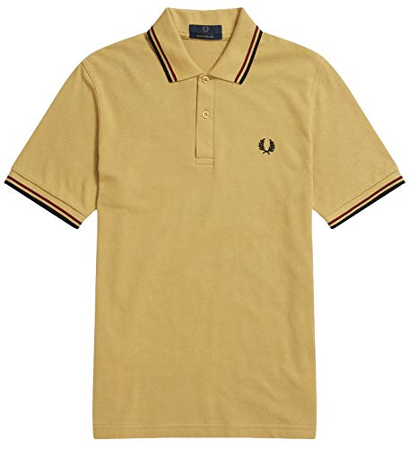 Fred Perry Twin Tipped M12 Made in England Polo Shirt, Gold with Maroon and Black Stripes, Size - Pique Black Perry Fred