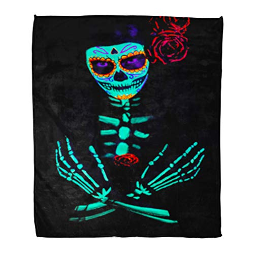 Golee Throw Blanket Young Girl Santa Muerte Saint Death Sugar Skull Bright Make 50x60 Inches Warm Fuzzy Soft Blanket for Bed Sofa