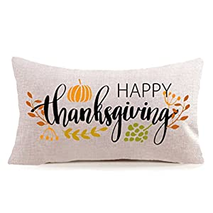 Best Epic Trends 41jtTgXxDEL._SS300_ MFGNEH Happy Thanksgiving Day Fall Decor Pumpkin Pillow Covers,Thanksgiving Gifts Cotton Linen Sofa Throw Pillow Case…