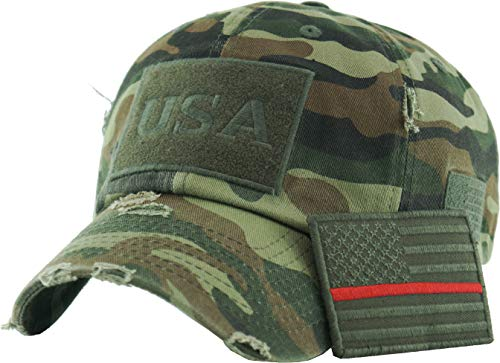 Mens Accessories Vintage Hats - TAC-210 CAM (Flag-OLV RED LINE) Tactical Operator USA Flag Patch US Army Military Baseball Cap Adjustable