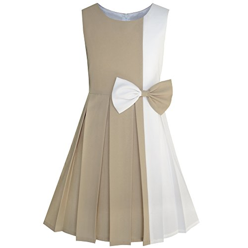 (Sunny Fashion Girls Dress Color Block Contrast Bow Tie Everyday Party Size 4)