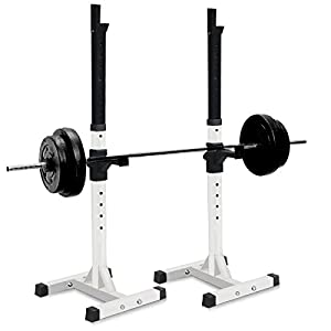 Sportmad Pair of Dumbbell Rack Adjustable Standard Solid Sturdy Steel Squat Stands Barbell Bench Free Press Stands Portable Rack for Home Gym Exercise Fitness Workout , 400lbs Capacity, White/Black
