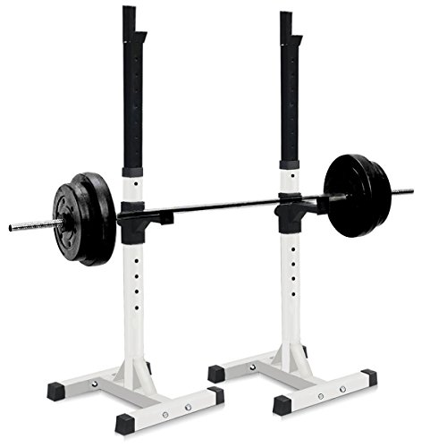 Sportmad-Pair-of-Dumbbell-Rack-Adjustable-Standard-Solid-Sturdy-Steel-Squat-Stands-Barbell-Bench-Free-Press-Stands-Portable-Rack-for-Home-Gym-Exercise-Fitness-Workout-Training-400lbs-Capacity-White