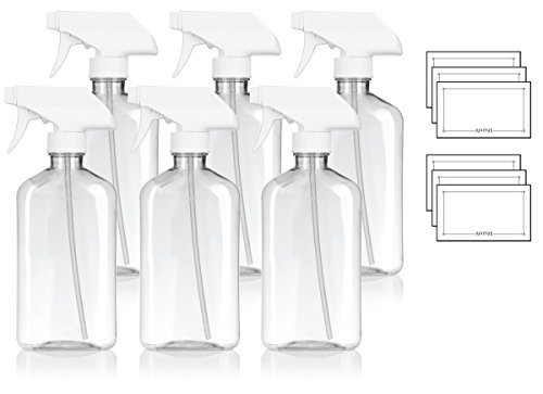 Oblong Bottle - 16 oz / 500 ml Clear PET (BPA Free) Plastic Oblong Flask Style Refillable Bottle with White Trigger Sprayer (6 pack) + Labels
