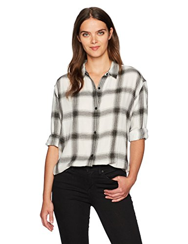 Calvin Klein Jeans Women's Long Sleeve Shadow Plaid Cozy Hi-Low Button Down Shirt, Pristine, - Shadow Plaid Shirt