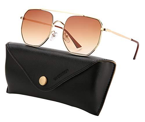 Square Aviator Sunglasses Womens Mens Oversized Mirrored lens Metal Frame U874 ()