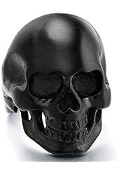 Stainless Steel Black Skull Band Vintage Gothic Cool Punk Biker Ring for Men