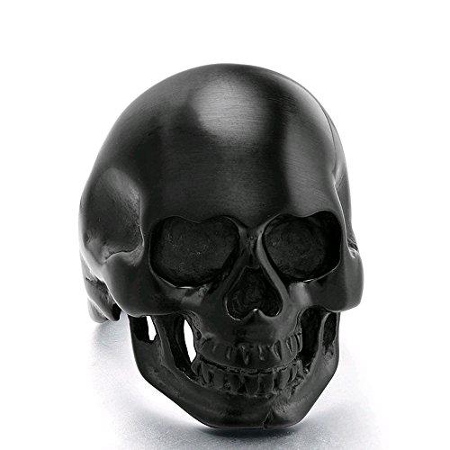 TIGRADE Halloween Jewelry Mens Black Skull Rings Stainless Steel Gothic Biker for Men