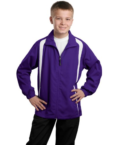 Sport-Tek Youth Colorblock Raglan Jacket>XL Purple/White YST60 by Sport-Tek