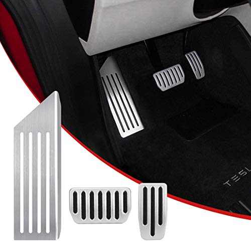 SUPAREE Model 3 Anti-Slip Foot Pedal Pads, Auto Aluminum Pedal Covers, Accelerator & Brake & Foot Rest Foot Pedal Pads+for Tesla Model 3 (A Set of -