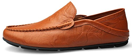 Go-tour Heren Premium Lederen Casual Slip Op Loafers Ademende Rijschoenen Fashion Slipper A-brown