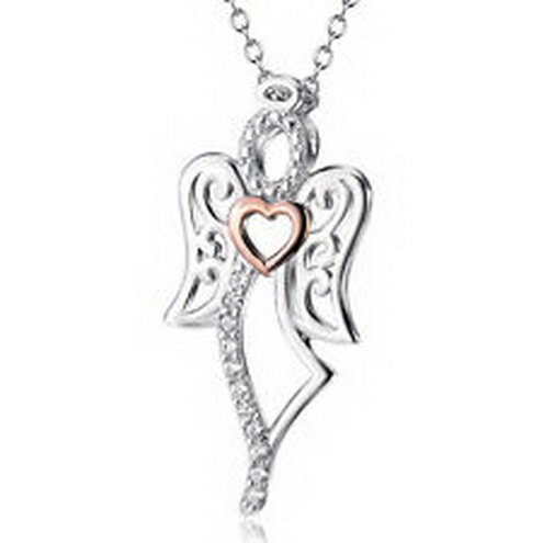 jacob alex #40644 2Tone 925 Sterling Silver CZ Fairy tale Angel Wings Gold Heart Necklace Pendant by jacob alex