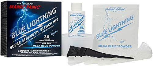 Manic Panic Blue Lightning Hair Bleaching Kit - (Super Strength) - 30 Volume Cream Developer With Mega Blue Toner Powder - Neutralizes Warm Tones, Lifts up to 5 Levels of Lightening - Hair Lightener