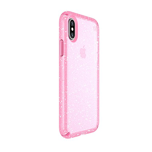 Speck Products Presidio Clear + Glitter Case for iPhone X, Bella Pink With Gold Glitter/Bella Pink
