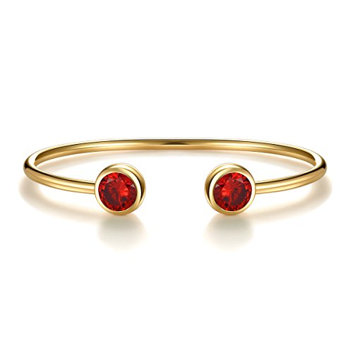 July Simulated Ruby Birthstone Cuff Bangle Bracelet Crystal Gold Plated Bangle Birth Month Charm Valentine's Day Gifts Birthday Gifts for Women Girls Gifts for Girlfriend Anniversary Gifts for Her (Green Red Gold)