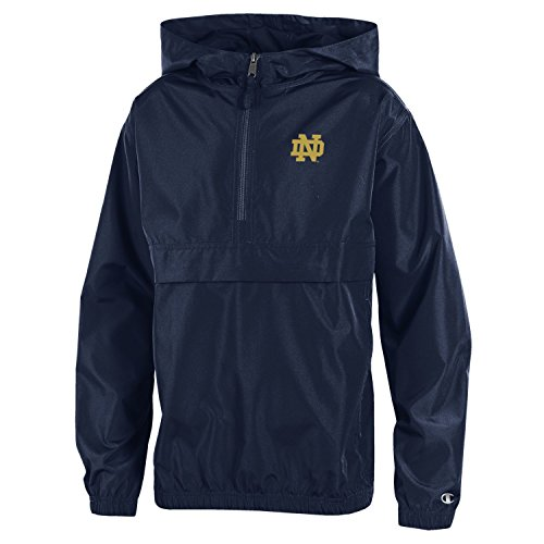 Notre Dame Irish Jacket - Champion NCAA Notre Dame Fighting Irish Youth Boys Packable Jacket, Medium, Navy