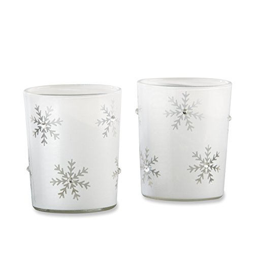 Kate Aspen Snowflake White Glass Tea Light Holder (Set of 4), White and Silver -