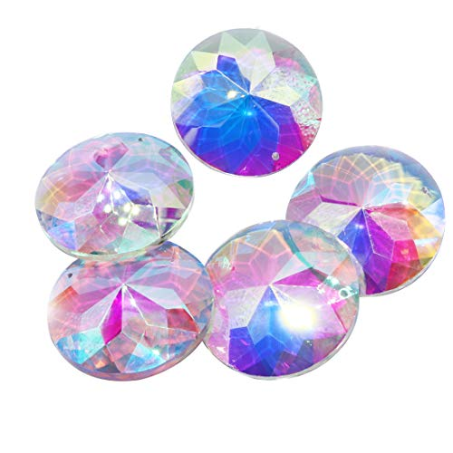 Crystal Double Flower - Waltz&F 5pcs Colored Crystal Prism Pendant Suncatcher for Window,Crystal Bauhinia Flower,Double Holes