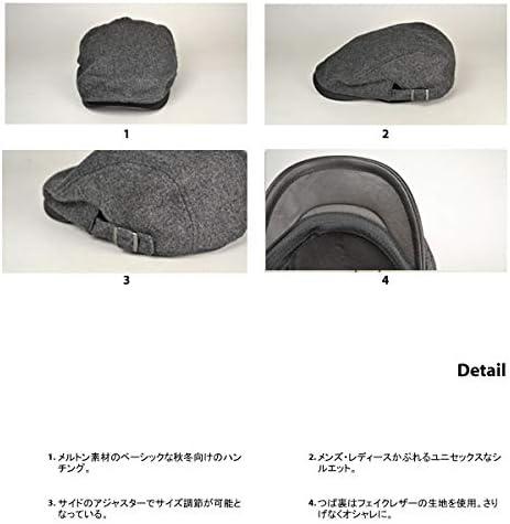 [スポンサー プロダクト][ライオン堂] フェイクレザーブリム・メルトンハンチング (帽子)