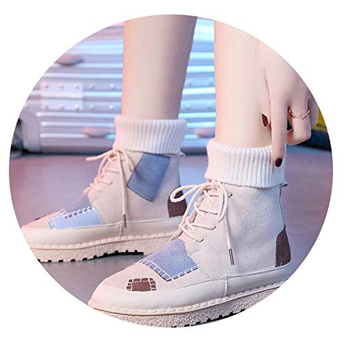 - 2019 Autumn and Winter Explosions Suede Canvas Color Matching Wild high-top Martin Boots Women Shoes WF08,White,7