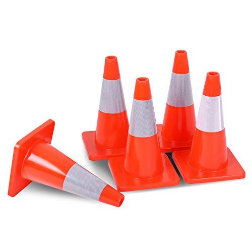 Goplus 5Pcs Traffic Cones 18 Orange Slim Fluorescent Reflective Road Safety Parking Cones