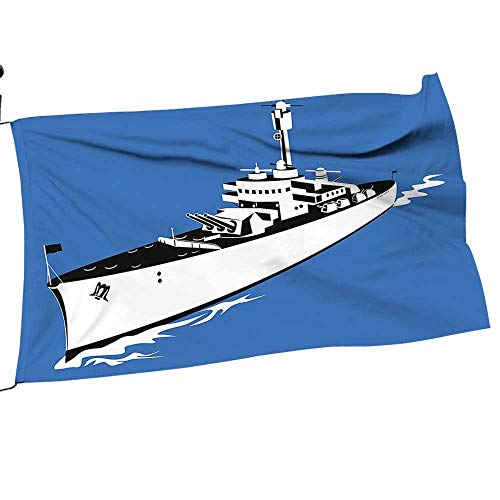 painting-home Garden Flag and Pole Set War Ship Boat Sealife Ocean Animati Like Image Violet Blue White Double Sided Outdoor Holidays Yard Flags26 x 39""
