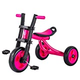 Xing Hua Shop Stroller Toys Children's Tricycle Outdoor Bicycle 2-5 Years Old Children Bicycle Walker seat 3 Gear Adjustable Load Bearing 25kg (Color : Pink)