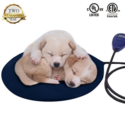 Warmstore Pet Heating Pad Heated Dog Beds Warmer - Cat Electric Heat Pad, Waterproof Adjustable Warming Mat with Chew Resistant Steel Cord, Soft Removable Cover (Blue)
