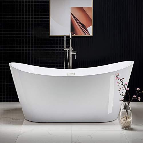 WOODBRIDGE Modern Bathroom Glossy Acrylic Free Standing Bathtub/White, 67' B-0010 Without Faucet