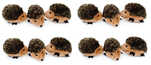 ZippyPaws - Woodland Friends Burrow, Interactive Squeaky Hide and Seek Plush Dog Toy - Hedgehog Miniz, 12 Pack