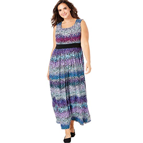 Woman Within Women's Plus Size Banded Waist Print Maxi Dress - Blue Ombre Dot, 5X