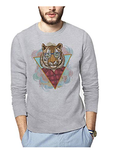 Men's Digital Printed Longsleeved Round Collar Leisure and Fashion Men and Women Hoodies(XS,Grey)