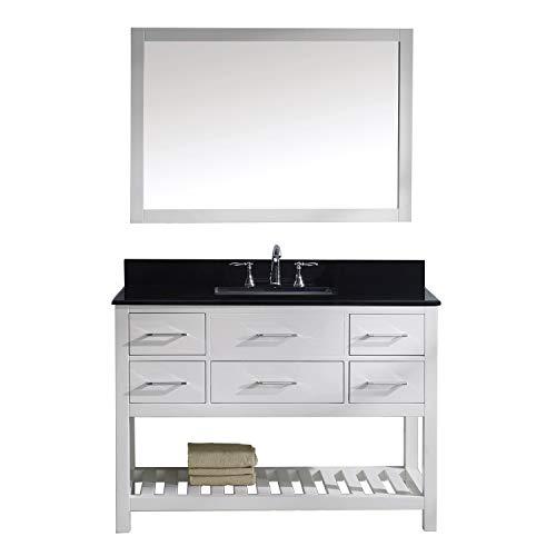- Virtu USA Caroline Estate 48 inch Single Sink Bathroom Vanity Set in White w/Square Undermount Sink, Black Galaxy Granite Countertop, No Faucet, 1 Mirror - MS-2248-BGSQ-WH