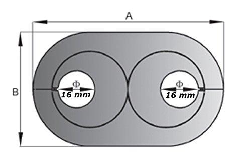 Lot de 5 doppelrosetten 16 mm-chrom/é