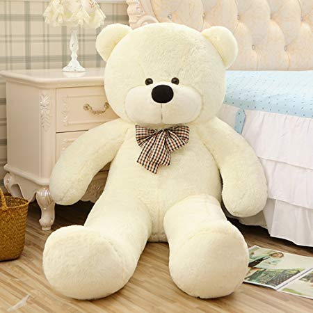 (WOWMAX 4 Foot White Giant Teddy Bear Cuddly Stuffed Plush Animals Teddy Bear Toy Doll)