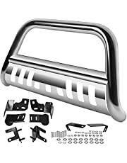 """AUTOSAVER88 3"""" Bull Bar Compatible for 09-18 Dodge Ram 1500/2019-2021 RAM 1500 Classic (Exl Rebel Sport) with Skid Plate Light Mount Front Bumper Brush Push Grill Guard Stainless Steel Silver"""