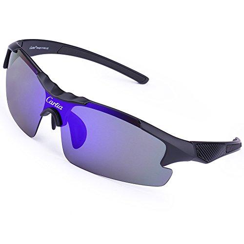 Carfia Casual Sports Sunglasses TR90 Polarized Sunglasses for Mens Cycling Baseball Running Fishing Golf, 100% UV400 - Com Tac Try Glasses