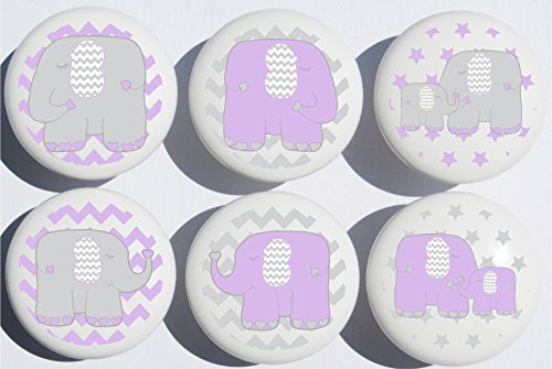Purple Elephant Drawer Pulls/Elephant Nursery Decor Ceramic Cabinet Drawer Knobs, 6 Set (Purple Elephants) ()