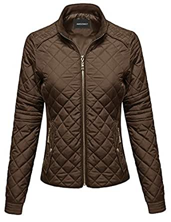 Awesome21 Women's Long Sleeves Zipper Closure Quilted Fleece Lining Puffer Jacket - Brown - Small