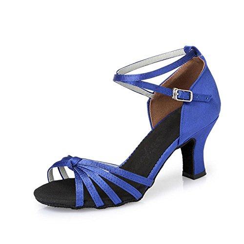 Zapatos baile salón Tacón Fiesta grueso Zapatos noche Un Talón latinos sin y mujer para Zapatos de satinado rrwxFf