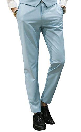 MOGU Mens Slim Fit Front Flat Casual Pants US Size 33 Light Blue