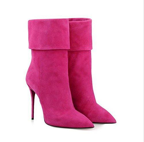 Pointue de Daim NVXIE Talons Rouge Hiver Pointe Chaussures à Rose Partie EUR39UK665 Automne ROSERED Bottes Femmes Hauts Travail Flanging Zxf0Zzr