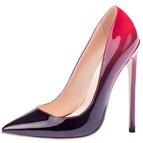 Mavirs High Heels, Women Pumps Pointed Toe Pumps High Heel Stilettos Slip-On Dress Shoes For Party Gradient Red
